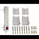 Steckdosenhalter Wandhalter für 2 Steckdosenleisten, Mehrfachsteckdose weiß