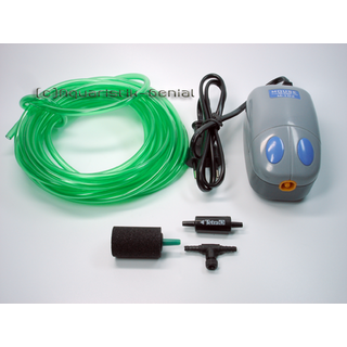 Membranpumpe - Luftpumpe - 5-teiliges Set mit Ausströmer und Pumpentyp M-102 - 180l/h
