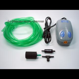Membranpumpe - Luftpumpe - 5-teiliges Set mit Ausströmer und Pumpentyp M-101 - 120l/h
